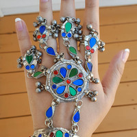 Gypsy Bellydance Ring- Afghan Jewelry- Afghan ethnic jewelry- silver antique Kuchi Jewelry- Afghan cuff bracelet- Haath Phool- Afghan Panja