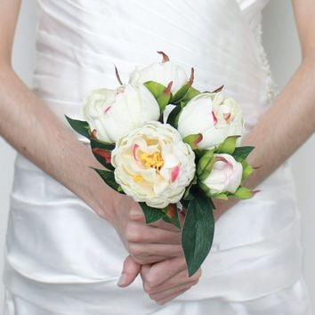 "Silk Wedding Bouquet Of Peonies in Cream Pink10.75"" Tall"