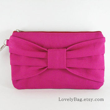 SUPER SALE - Fuchsia Bow Clutch - iPhone 5 Wallet, iPhone Wristlet, Cell Phone Wristlet,Cosmetic Bag,Zipper Pouch - Made To Order
