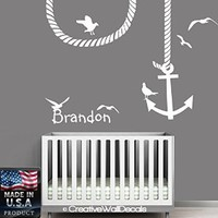 Wall Decal Vinyl Sticker Decals Art Decor Design Custom Name Baby Letter Anchor Symbol Gull Nautical Salior Nirsery Kids Rope Bedroom(r1200)