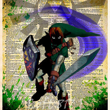 Legend of Zelda art, Link Zelda art, Zelda Triforce, video game decor, video game poster