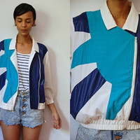 Vtg Blue Teal White Color Block Zip Up Light Jacket