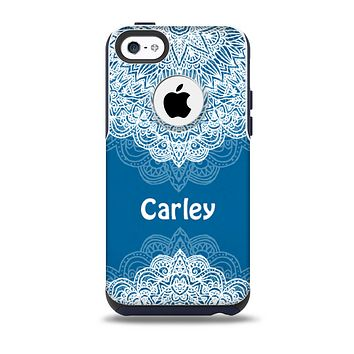 The Intricate Blue & White Snowflake Name Script Skin for the iPhone 5c OtterBox Commuter Case