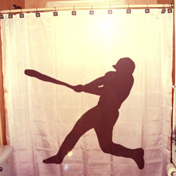 Baseball Shower Curtain Player kids bathroom bath decor bat swing ball game hitter pitcher catcher glove