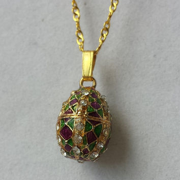 Egg Pendant Faberge style necklace with Guilloche Enamel,Jeweled with Austrian Crystals