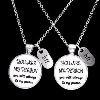 Bff You Are My Person You're My Person Best Friend Friends Gift Necklace Set