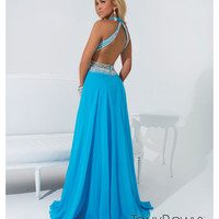 (PRE-ORDER) Tony Bowls 2014 Prom Dresses - Turquoise Beaded Halter Prom Dress