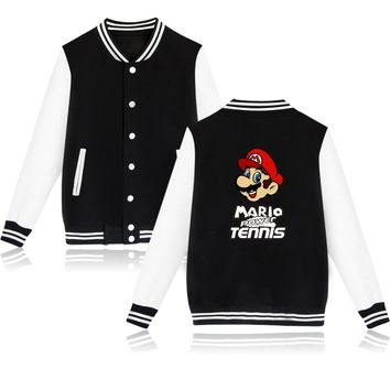 Hot Sale Game Super Mario Jacket Funny Baseball Coats mario pattern clothes hip hop Streetwear clothing for Winter