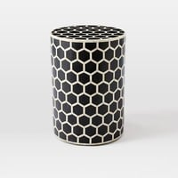 Bone Inlaid Round Side Table