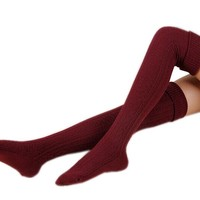 AnVei-Nao Womens Girls Winter Over Knee Leg Warmer Knit Crochet Socks Leggings Wine Red