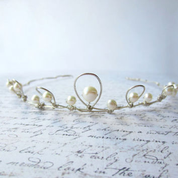 Silver Wire Tiara, Wedding Hair, White Pearl Tiara, Bridal Hair Accessory, White Tiara, Swedish Jewelry Design, Made In Sweden
