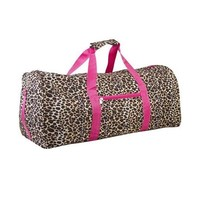 Pink Leopard Duffle Vegan Carrying Cheer Workout Luggage Bag 21-inch