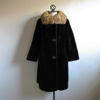 Vintage 1960s Coat Black-Brown Faux Fur Trapeze Real Fur Collar Coat Large
