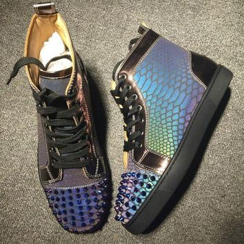 DCCK Cl Christian Louboutin Lou Spikes Style #2185 Sneakers Fashion Shoes