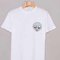 ALIEN TONGUE HEAD White Graphic Unisex Teen Hipster Shirt