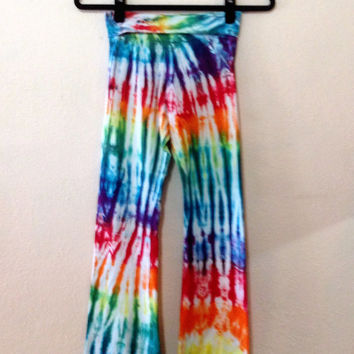 Women's Yoga Pants, Rainbow Tie Dye Lounge Pants, Hippie Clothes