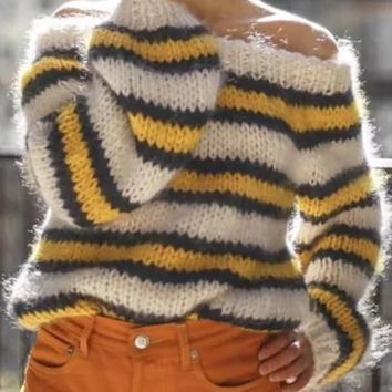 New Yellow White Striped Print Off Shoulder Oversize Pullover Sweater