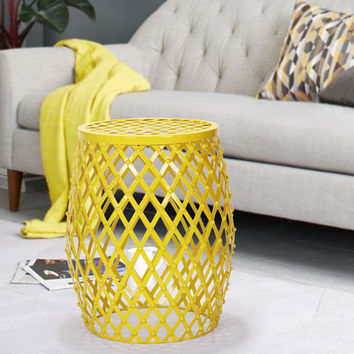 Adeco Bright Yellow Hatched Diamond Pattern Round Iron Stool   Overstock.com Shopping - The Best Deals on Coffee, Sofa & End Tables