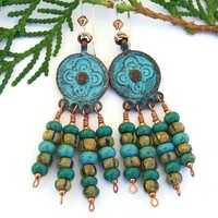 Boho Chandelier Cross Earrings, Rustic Green Verdigris Mykonos Handmade Dangle Jewelry