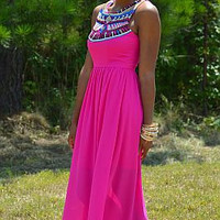 Pink Tribal Print Sleeveless Maxi Dress