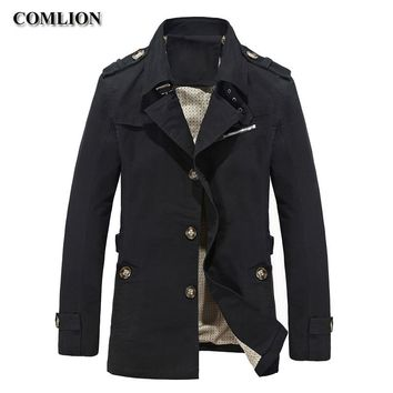 2018 Autumn Spring Casual Mens Jackets And Coats Men Fashion Brand Clothing Solid Cotton Overcoat New Trench Homme Jacket C30