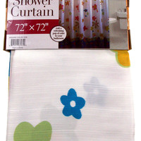 White Floral Shower Curtain Water Repellent Fabric 72x72 Machine Washable Blue