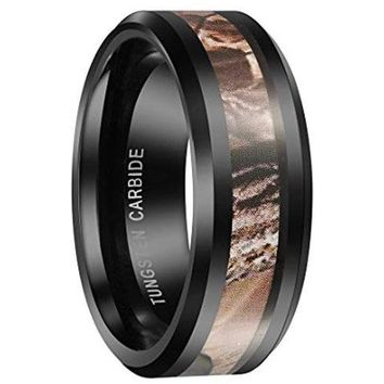 CERTIFIED 8mm Black Tungsten Carbide Camo Camouflage Hunting Wedding Band