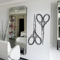 Wall Decal Vinyl Sticker Decals Art Decor Design Hair Salon Scissors Retro Curls Beauty Hair Stylist Bedroom Fashion Barber Cosmetic (M1531)