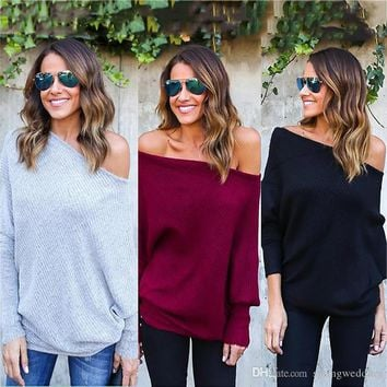 New Sweaters Autumn Winter Knitted Sweater For Women Fashion Sexy Off Shoulders Sweater Loose Sweater Batwing Sleeve Pullover FS5819