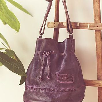 Bed Stu Womens Stab Stitch Leather Bucket Bag