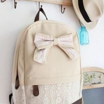 Beige Lace Backpack With Bow from Bblythe
