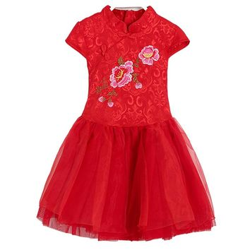 2017 autumn chinese red flower lace cheongsam girls dresses fleece thick short sleeved princess dress girl cute children costume
