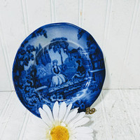 Flow Blue Plate Flo Blue Romantic Pattern Staffordshire England Porcelain Petite Decorative China Plate Cottage Chic Blue White China Plate