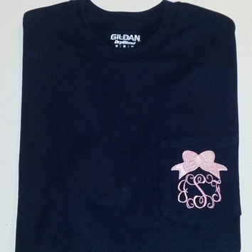 Monogrammed Pocket Tee with preppy bow. You can choose initials or greek letters in the font of your choice.
