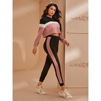 SHEINColorblock Crop Hoodie and Contrast Sideseam Joggers Set