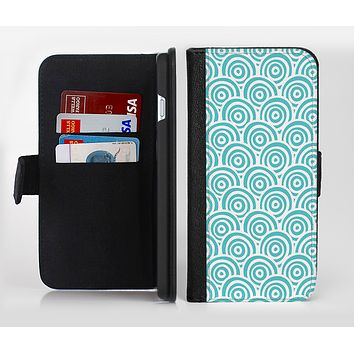 The Tiffany Blue & White Swirls Ink-Fuzed Leather Folding Wallet Credit-Card Case for the Apple iPhone 6/6s, 6/6s Plus, 5/5s and 5c