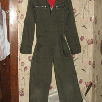 VINTAGE mens DAKOTA outerwear  Sioux falls  SD  insulated  olive  army green coveralls  jumpsuit   unisex