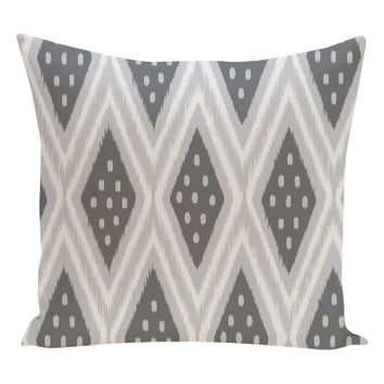 e by design Ikat Diamond Dot Geometric Pillow - Dark Grey