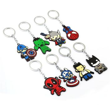 Deadpool Dead pool Taco J store Spider Man  Batman Captain America Thor hero Model Alloy Keychain For Fans Key Chain sleutelhanger ring JJ11885 AT_70_6