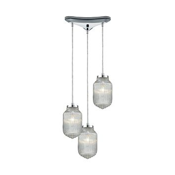 Dubois 3-Light Triangular Pendant Fixture in Polished Chrome with Clear Ribbed Glass