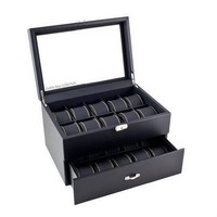 Glass Top Watch Jewelry Box Storage Case in Black