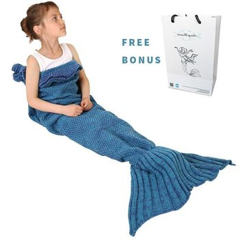 Mermaid Tail Blanket, Amyhomie Mermaid Crochet Blanket for Adult and Kids, All Season Sleeping Bag