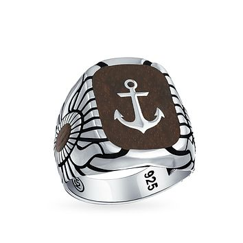 Mens Etched Wood Inset Boat Anchor Signet Ring 925 Sterling Silver