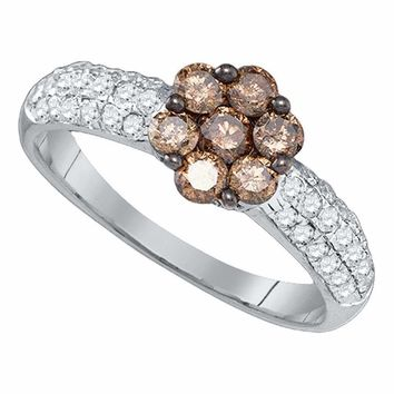 10kt White Gold Women's Round Cognac-brown Color Enhanced Diamond Flower Cluster Ring 7-8 Cttw - FREE Shipping (USA/CAN)