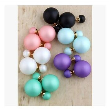 Fashion Double Sides Matt Candy Color Round Ball Stud Earrings For Women