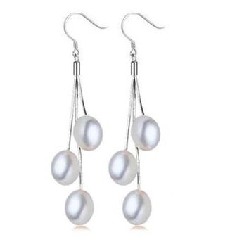 ON SALE - White Triple Freshwater Pearl Sterling Silver Tassel Earrings