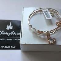 Disney Parks Valentine Day Set Gold Rose Minnie Mickey Alex & Ani New with Tags