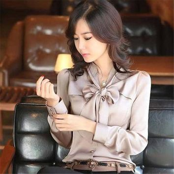Slim Satin Silk Ruffles Bow Ties Long Sleeve Blouse