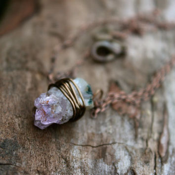 Bronze small rough Amythest long pendant necklace, Raw amethyst bohemian wire wrapped Jewelry