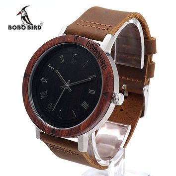 BOBO BIRD K06 2017 Fashion Roma Dial With Rose Wooden Unique Quartz Watch For Men Dress Analog Wristwatch With Gift Box